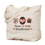 Peace Love Bloodhound Tote Bag