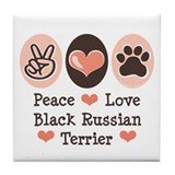 Peace Love Black Russian Terrier Tile Coaster