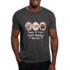 Peace Love Black Russian Terrier T-Shirt