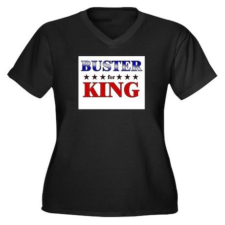 BUSTER for king Women's Plus Size V-Neck Dark T-Sh