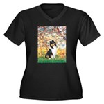 Spring / Collie Women's Plus Size V-Neck Dark T-Sh