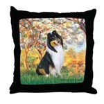 Spring / Collie Throw Pillow