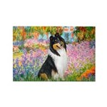 Garden / Collie Rectangle Magnet (10 pack)