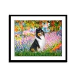 Garden / Collie Framed Panel Print