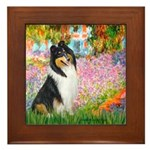 Garden / Collie Framed Tile