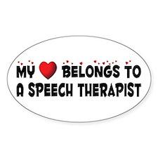 Belongs To A Speech Therapist Oval Decal