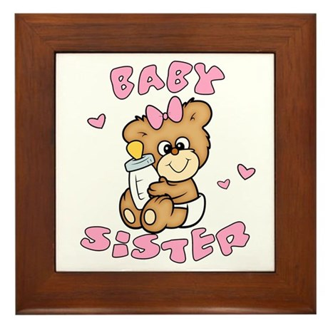 Cute Bear Baby Sister Framed Tile