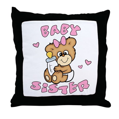 Cute Bear Baby Sister Throw Pillow
