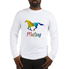 Colorful Galloping Mustang Long Sleeve T-Shirt