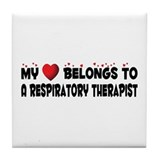 Belongs To A Respiratory Therapist Tile Coaster