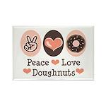 Peace Love Doughnuts Donut Rectangle Magnet