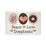 Peace Love Doughnuts Donut Rectangle Magnet (100 p