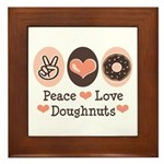Peace Love Doughnuts Donut Framed Tile
