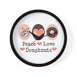 Peace Love Doughnuts Donut Wall Clock