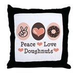 Peace Love Doughnuts Donut Throw Pillow