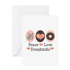 Peace Love Doughnuts Donut Greeting Card
