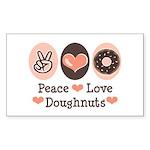 Peace Love Doughnuts Donut Rectangle Sticker