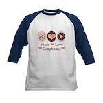 Peace Love Doughnuts Donut Kids Baseball Jersey