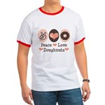 Peace Love Doughnuts Donut Ringer T