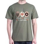 Peace Love Doughnuts Donut Dark T-Shirt