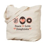 Peace Love Doughnuts Donut Tote Bag