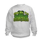 Kiss Me I'm Single Shamrock Kids Sweatshirt