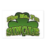 Kiss Me I'm Single Shamrock Postcards (Package of