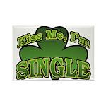 Kiss Me I'm Single Shamrock Rectangle Magnet (10 p