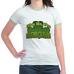 Kiss Me I'm Single Shamrock Jr. Ringer T-Shirt