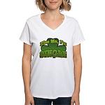 Kiss Me I'm Single Shamrock Women's V-Neck T-Shirt