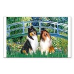 Bridge / Two Collies Sticker (Rectangle)