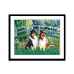 Bridge / Two Collies Framed Panel Print