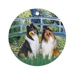 Bridge / Two Collies Ornament (Round)