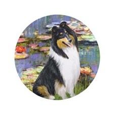 "Water Lilies / Collie (tri) 3.5"" Button"
