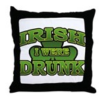 Irish I Were Drunk Shamrock Throw Pillow