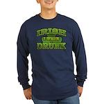 Irish I Were Drunk Shamrock Long Sleeve Dark T-Shi