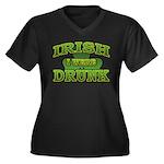 Irish I Were Drunk Shamrock Women's Plus Size V-Ne