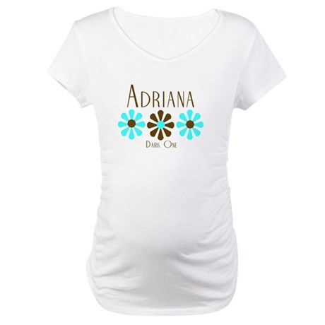 Adriana - Blue/Brown Flowers Maternity T-Shirt