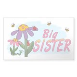 Silly Flowers Big Sister Rectangle Stickers
