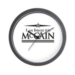 Insane for McCain Wall Clock