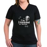 I'm insane for McCain Women's V-Neck Dark T-Shirt