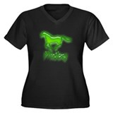 Galloping Green Mustang Women's Plus Size V-Neck D