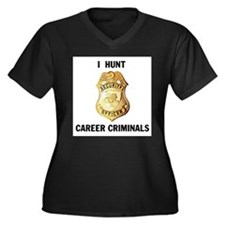 CRIMINALS Women's Plus Size V-Neck Dark T-Shirt