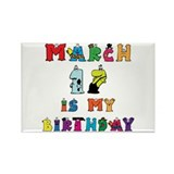 Cartoon Text Birthday March 17th Rectangle Magnet