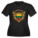 Lithuania Women's Plus Size V-Neck Dark T-Shirt