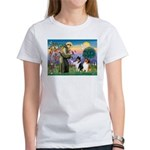 St Francis / Collie Pair Women's T-Shirt