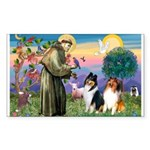 St Francis / Collie Pair Rectangle Sticker