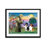 St Francis / Collie Pair Framed Panel Print