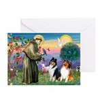 St Francis / Collie Pair Greeting Cards (Pk of 10)
