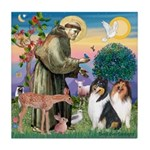 St Francis / Collie Pair Tile Coaster